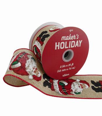 Maker's Holiday Christmas Ribbon 2.5''x25'-Santa on Natural