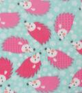 Blizzard Fleece Fabric 59\u0027\u0027-Hedgehogs on Aqua