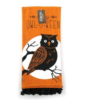 Maker's Halloween Decor Towel with Trim-Happy Owl-O-Ween on Orange