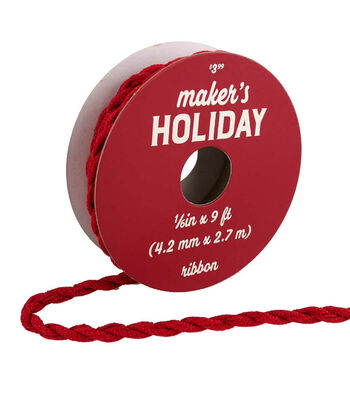 Maker's Holiday Woodland Lodge Twisted Fabric Cord Ribbon 1/6''x9'-Red