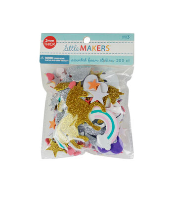 Little Makers Adhesive Foam Stickers-Unicorn Rainbow