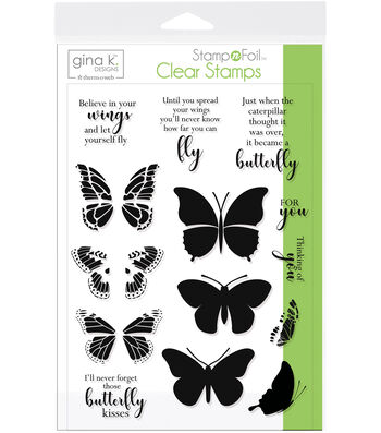 Gina K Designs StampnFoil 14 pk Clear Stamps-Butterfly Kisses