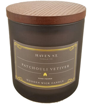 Haven St. Candle Co. 12 oz. Patchouli Vetiver Scented Wooden Wick Candle