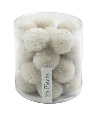 Simply Spring 25 pk 1'' Yarn Pom Poms-Cream