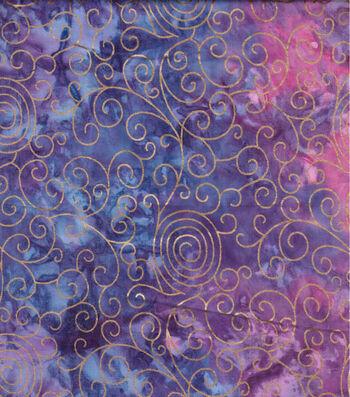 "Batik Cotton Fabric 44""-Purple Rainbow Scrolls Metallic"