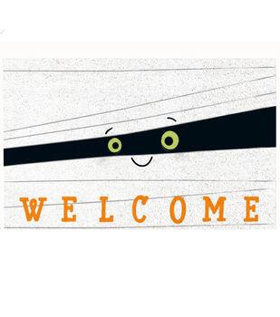 Maker's Halloween Natural Tufted Coir Mat-Mummy & Welcome
