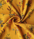 Silky Stretch Fabric 57\u0022-Gold Scattered Bouquet Textured