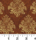 Harvest Cotton Fabric 43\u0022-Brown Damask