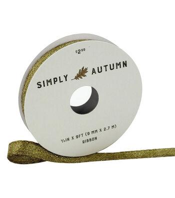 Simply Autumn Metallic Ribbon 3/8''x9'-Natural & Gold