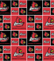 "University of Louisville Cardinals Cotton Fabric 43""-Block, , hi-res"