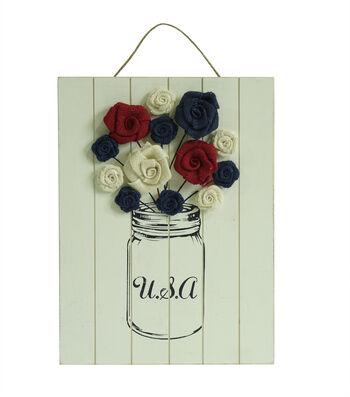 Americana Patriotic Wood Flower Wall Decor-USA