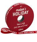 Maker\u0027s Holiday Whimsy Workshop Ribbon 3/8\u0027\u0027x9\u0027-Ho Ho Ho on Red