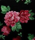 Casa Embellish Gardinia Satin Print Fabric 57\u0027\u0027-Floral on Black