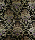 Brocade Fabric-Black, Gold & Purple Large Scale