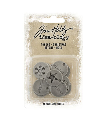 Idea-Ology Metal Typed Tokens 18/Pkg-Antique Nickel Christmas Words 1""