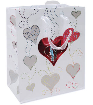 "10.5""x5.4""x13"" Foil Gift Bags-Bride & Groom"