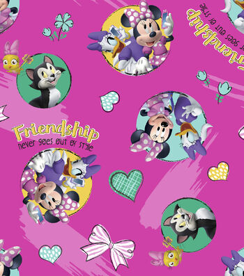 Disney Minnie Mouse Cotton Fabric 43''-Friendship Never Goes Out