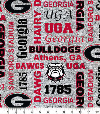 Georgia Bulldogs Fleece Fabric-Heather Verbiage