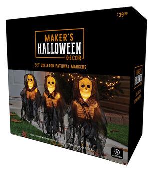 Maker's Halloween 3 ct Skeleton Cape Pathway Markers