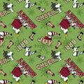 Peanuts Christmas Fleece Fabric-Green