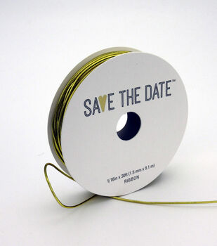 Save the Date Mini Cord Ribbon 1/16''x 30'-Gold