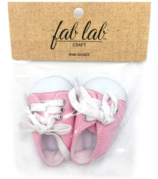 Fab Lab Craft Mini Doll Shoes-Pink & White