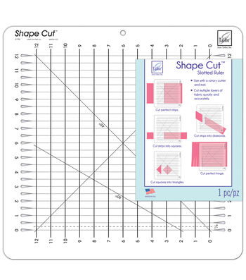 June Tailor Shape Cut 12''x12'' Slotted Ruler