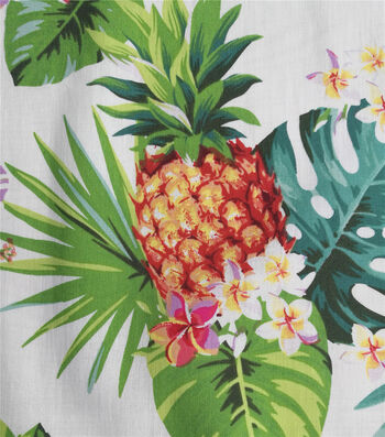 Cotton Shirting Fabric-Tropical Leaves, Hibiscuses & Pineapples on White