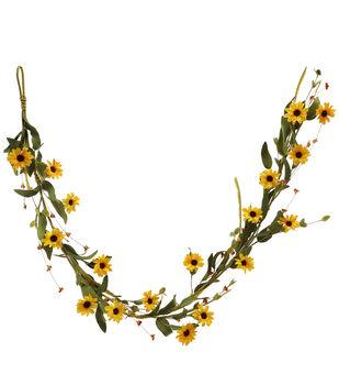 Blooming Autumn 66 Mini Sunflower Garland-Yellow