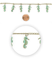 Blue Moon Bead Strands Patina Metal Seahorse, , hi-res