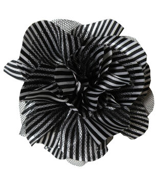 Striped Satin Netted Flower  Black White