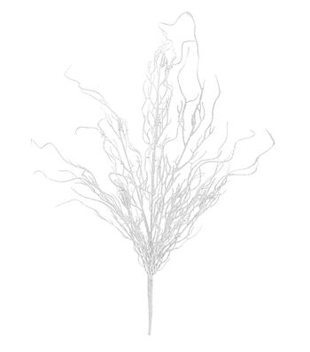 Blooming Holiday Christmas Glitter Coral Grass Bush-White