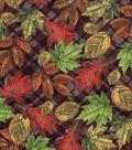 Harvest Cotton Fabric 43\u0022-Leaves On Plaid