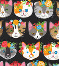 Novelty Cotton Fabric 44\u0022-Cat Heads On Black