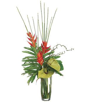 Bloom Room Luxe 37'' Heliconia, Anthurium & Bamboo-Orange