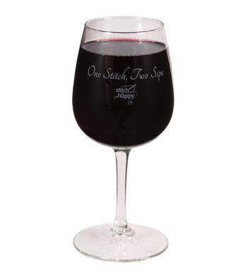 K1C2 Stitch Happy Wine Glass In Box 12 oz-One Stitch, Two Sips