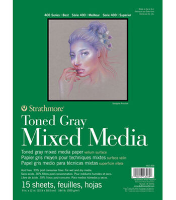 "Strathmore 9""x12"" 400 Series Mixed Media Pad-Toned Gray"