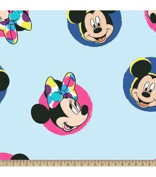 Disney Mickey Mouse Fleece Fabric-Mickey & Minnie Fun Badges