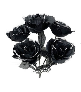Maker's Halloween Rose Bush-Silver Glitter on Black