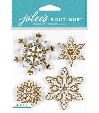 Jolee's Boutique 4 Pack Bling Stickers-Snowflakes