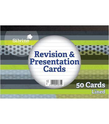 Silvine 50 pk 6''x4'' Revision & Presentation Cards-White Lined