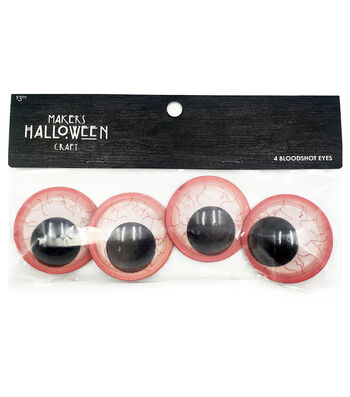 Maker's Halloween 4pc Googly Eyes-Bloodshot Small
