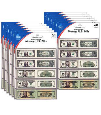 Carson Dellosa Money U.S. Bills Stickers 12 Packs