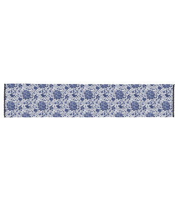 Americana Patriotic 14''x72'' Indoor Table Runner-Blue Floral on White