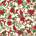Christmas Cotton Fabric-Cardinals & Poinsettia Glitter