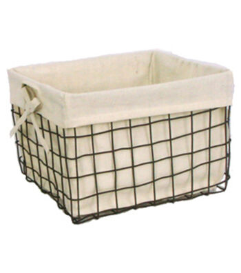 Organizing Essentials 11''x10'' Wire Basket with Ivory Liner
