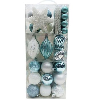 Handmade Holiday Christmas Crystal Cove 76 pk Ornaments in Suitcase