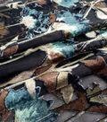 Silky Velvet Burnout Fabric-Teal Thistle