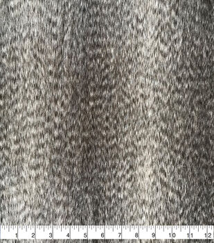 Faux Fur Fabric-Gray Feathers