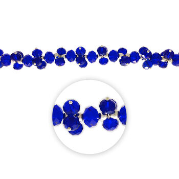 "Blue Moon Beads 7"" Crystal Strand, Dangles, Royal Blue"